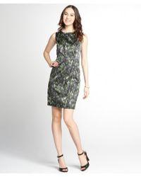 Tahari Green And Grey Printed 'Ketrina' Woven Shift Dress - Lyst