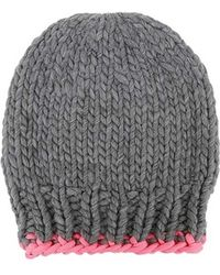 Wool And The Gang Zion Lion Hat Tweed Grey And Neon Pink - Lyst