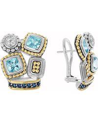 Lagos Montage Blue Stone  Diamond Stud Earrings - Lyst