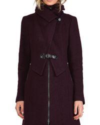 SOIA & KYO - Fiala Wool Coat in Wine - Lyst