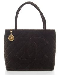 Chanel Preowned Brown Velvet Medallion Tote - Lyst