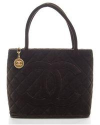 Chanel Preowned Brown Velvet Medallion Tote - Lyst