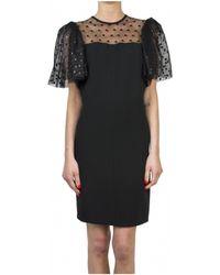 Saint Laurent | Black Sheath Dress With Sheer Back Panel | Lyst