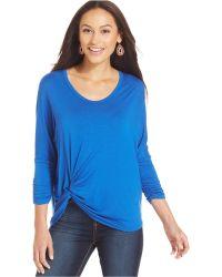 Karen Kane Ruched-Sleeve Pick-Up Top blue - Lyst