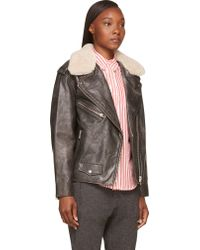 Etoile Isabel Marant Black Shearling Collar Benny Biker Jacket - Lyst