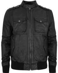 Villain - Gareth Black Leather Jacket - Lyst