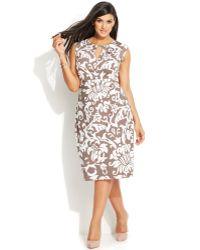 Inc International Concepts Plus Size Cap-Sleeve Printed Keyhole Dress - Lyst