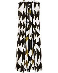 Thakoon Graphic Chevron Jacquard Long Vest with Raffia Trim - Lyst