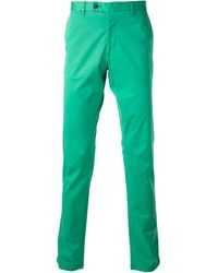 Fay Green Chino Trousers - Lyst