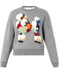 3.1 Phillip Lim Gray Embroideredpoodle Sweatshirt - Lyst