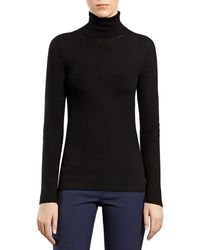 Gucci Black Cashmere Ribbed Cashmere Turtleneck Sweater - Lyst