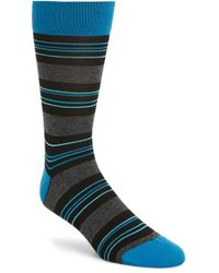 Bugatchi Stripe Socks blue - Lyst