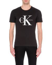 Calvin Klein Logo-Print Cotton T-Shirt - For Men black - Lyst