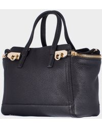 "Ferragamo Black Hammered Leather ""Verve"" Small Bag - Lyst"