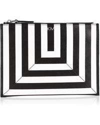 Karen Millen Stripe Pochette white - Lyst