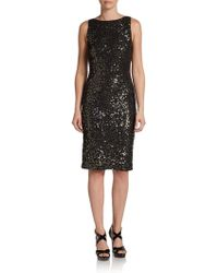 Alice + Olivia Scoopback Sequined Sheath Dress - Lyst