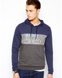 Asos Overhead Hoodie with Printed Cut and Sew Panel - Lyst