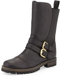 Manolo Blahnik Kaganotta Buckled Midcalf Biker Boot - Lyst