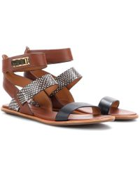 Aerin - Sienna Leather Sandals with Snakeskin - Lyst