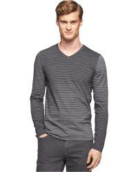 Calvin Klein Engineered Stripe Jersey V-Neck Shirt - Lyst