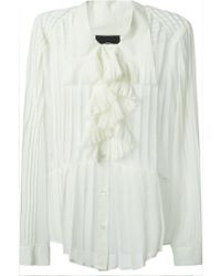 McQ by Alexander McQueen Ruffle Detail Pleated Blouse - Lyst
