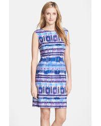 Tahari Geometric-Print Sheath Dress purple - Lyst