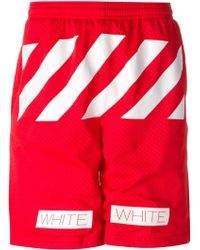 Off-White Striped Track Shorts - Lyst