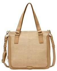 Fossil 'Preston' Straw Shopper beige - Lyst