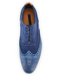 Paul Smith Miller Dipdyed Leather Wingtip Navy - Lyst