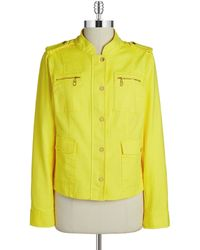 Jones New York Stretch-Cotton Utility Jacket yellow - Lyst