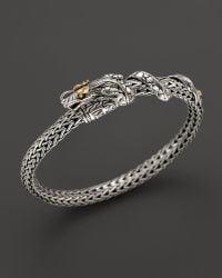 John Hardy Naga Sterling Silver and 18k Yellow Gold Dragon Bracelet - Lyst