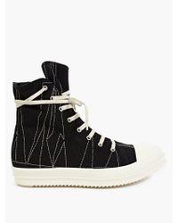 DRKSHDW by Rick Owens Black Hi-Top Stitch-Detail Sneakers black - Lyst