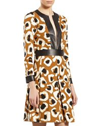 Gucci Leopardprint Dress with Leather Trim - Lyst