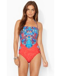 Lauren by Ralph Lauren Shirred Strapless One-piece - Lyst