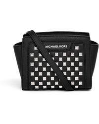 Michael Kors 'Selma' Mini Stud Saffiano Leather Messenger Bag black - Lyst