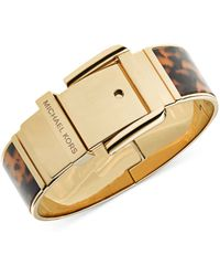 Michael Kors Goldtone Tortoise Wide Buckle Bangle Bracelet - Lyst