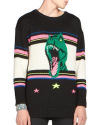 Saint Laurent | T-rex Intarsia Wool Sweater | Lyst