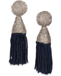 Oscar de la Renta Silk-Tassel Clip-On Earrings - Lyst