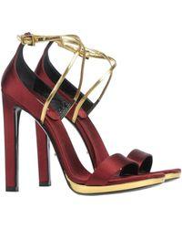 Prada Red Sandals - Lyst
