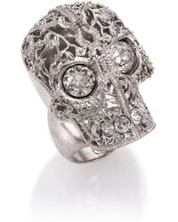 Alexander McQueen Caged Floral Skull Ring silver - Lyst