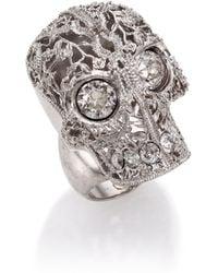 Alexander McQueen Caged Floral Skull Ring silver - Lyst