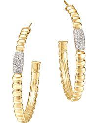 John Hardy Gold Bedeg Pave Diamond Medium Hoop Earrings - Lyst
