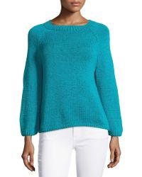 Oscar de la Renta Hand-knit Long-Sleeve Sweater - Lyst