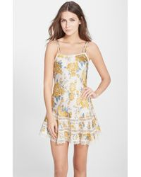 Free People Floral Print Satin Slip With Lace Trim - Lyst