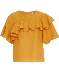 WHIT | Mustard Lash Wool Crepe Top | Lyst