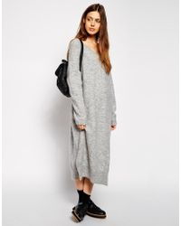 Asos Over Sized Sweater Dress with V-Neck in Mohair Wool Mix - Lyst