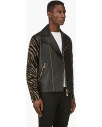 Versus  Black Leather and Suede Embellished Sleeve Biker Jacket - Lyst