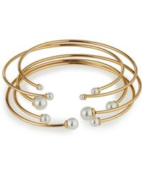 Lydell NYC - Golden Open-wire Bangle Set W/ Pearly End Caps - Lyst