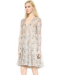 Vera Wang Collection - Long Sleeve Gauze Dress - Blush - Lyst
