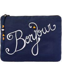 Venessa Arizaga - Navy Bonjour Print Clutch Bag - Lyst